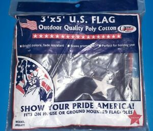 3'x5' OUTDOOR QUALITY POLY COTTON  AMERICAN FLAG MADE IN MILWAUKEE WI USA