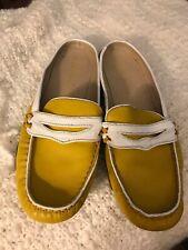 Ellen Tracy Scottie Yellow White Mule Penny Loafer Mocasin Toe  Size 7.5 Leather