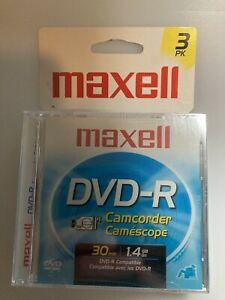 NIB Maxwell DVD-R Camcorder Discs 3 Pack