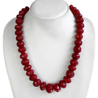 BUYERS TOP FAVOURITE 735.00 CTS NATURAL FACETED RED RUBY BEADS NECKLACE PAYPAL