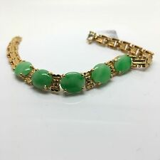 18k Yellow Gold Natural Jade Bracelet. Lucky Stone