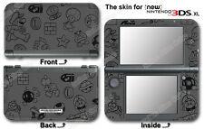 Super Mario Luigi Black Edition Skin Sticker Decal Cover for NEW Nintendo 3DS XL