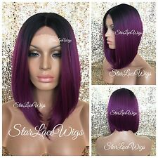 Lace Front Wig Straight Angled Bob Fuchsia Purple Black Root Layers Heat Safe Ok
