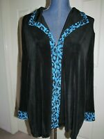 Alfred Dunner Black Contrast Trim Wing Collar Travel Slinky Jacket Size L