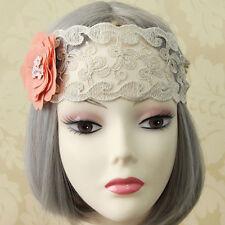 Flower Women Lace Forehead Headband Crown Hen Party Elastic Headdress Hairband