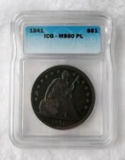 1841 $1 Liberty Seated Dollar MS-60PL Grand Appeal Population 1/1