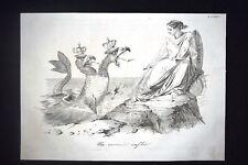 Incisione d'allegoria e satira Ancona sotto attacco Austria Don Pirlone 1851
