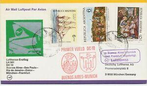 ARGENTINA 1976 superb first flight Lufthansa w DC 10, flight LH 501 BA to MUNICH
