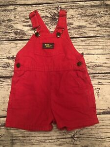 OshKosh B'gosh Vestbak Shorts Overalls Red Sz 24 M