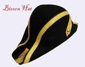 Military Bicorn Hat Black 100% Wool Unisex  Army Sailor Costume-iHATS London UK