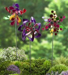 Mini Pinwheel Garden Stakes Outdoor Wind Spinner Lawn Attach To Deck  Set of 3