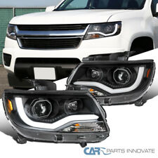 For 15-20 Chevy Colorado Matte Black Projector Headlights w/ LED DRL Left+Right