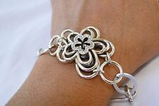 New Brighton Infinity Flower Silver & Crysta Flower Altered  Bracelet