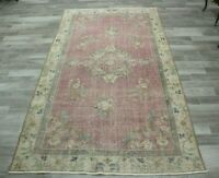 Turkish Vintage Beige Color Area Rug Anatolian Hand Knotted Wool Carpet 5x10 ft.