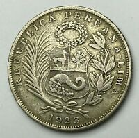 Dated : 1923 - Silver Coin - Peru - 1/2 Sol - Half Sol Coin