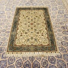 YILONG 3'x5' Beige Hand-knotted Silk Carpet High Density Antique Parlor Rug 289H