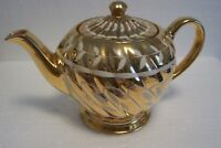 Vintage Sadler Gold Teapot White Leaf Design Made in England
