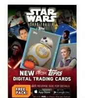 TOPPS 2016 STAR WARS ROGUE ONE CARD TRADER UNUSED FREE PACK DIGITAL CODE CARD