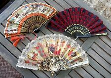 Vintage Antique Hand Fans 3 Assorted Oriental & Bullfighting Bright Colors