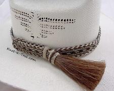 "Horsehair hat band WIDE 1"" 7 strand large side tassel horsehair hat hand Brown"