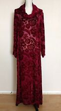 Citron Santa Monica Velvet Sheer Dress Size M Silk Burnout Cowl Neck Burgundy