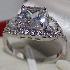 Size 9/R Womens Handmade 925 Standard Silver White Sapphire Wedding Band Ring