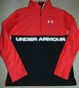 ~NWT Boys UNDER ARMOUR 1/4th Zip Long Sleeve Top! Size YLG Loose Fit Nice!
