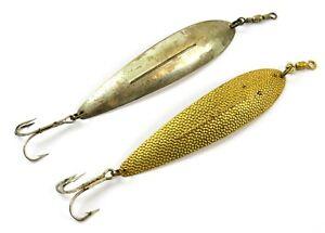 """Lot of 2 Vintage Williams Wabler 6"""" Long Metal Spoon Jig Fishing Lures"""