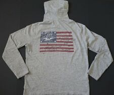NEW MENS RALPH LAUREN POLO GREY USA FLAG LIGHTWEIGHT HOODIE HOODED T SHIRT XL