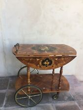 Italian-Venetian Inlaid Tea Cart with Drop Leaf- Marquetry