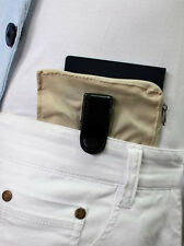 Belt Clip-On Travel Safe Money Holder Credit Card ID Wallet Hidden Conceal Beige