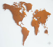 M Design-Weltkarte aus COR-TEN Stahl - Wanddekoration (Rost Look, Shabby Chic)