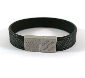 Louis Vuitton Pull It Check It Damier Canvas Leather Bracelet BC1108