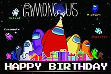 Among Us Happy Birthday Backdrop,Kids Birthday Party Backdrops Decoration Baby