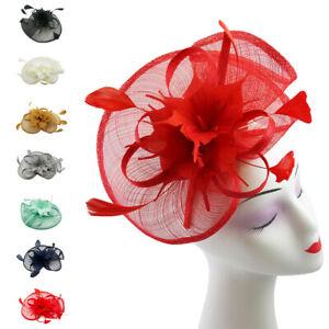 Large Fascinator Weddings Hat Feathers Floral Burst Ascot Races Headband & Clip