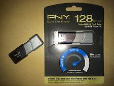 PNY - Turbo Plus 128 GB USB 3.0 Flash Drive - Silver/Black P-FD128TBOP-GE