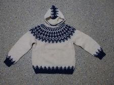 Island Norweger Kinder Kapuzen Pullover Grösse 152 Schurwolle Handarbeit G723