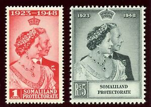 Somaliland 1949 KGVI Silver Wedding set complete superb MNH. SG 119-120.
