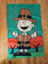 PEANUTS FLAG Charlie Brown Pilgrim -Large Double Sided- Thanksgiving Snoopy Fall