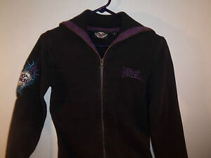 Women's Harley Davidson Black & Purple Zippered Sweater w/Embroidery Size S