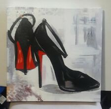 RED BOTTOM BLACK ANKLE STRAP PUMPS CANVAS PICTURE 16 X 16 INCHES