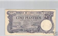 Bank- des'Indochina Saigon 5 Piaster 24 Oktober 1916 R.154 Nr. 415 Pick 37b