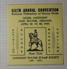 Nfsc Convention 1941 Fort Wayne In Philatelic Souvenir Ad Label