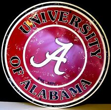 """ALABAMA,UNIVERSITY """"""""ROLL TIDE"""" FACTORY DISTRESSED ROUND, METAL SIGN,"""