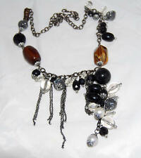 Lucite Black & Amber Faux Pearl Beads Necklace with Dangling Silver Tone Chains
