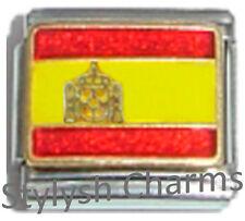 SPAIN SPANISH FLAG Ceramic Italian Charm 9mm - 1 x PQ047 Single Bracelet Link