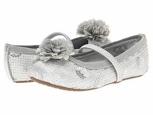 Stride Rite Silver Sequin Shoes Slip -Ons Elastic Security Strap Baby SZ 4 1/2 M