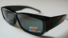 100%UV Andevan™ Polarized Black Sunglasses cover over RX-fit Unisex size M