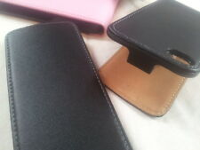 Apple IPhone 4 GENUINE LEATHER flip case cover Available in Black White and Pink