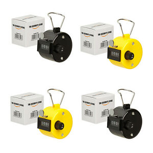 THE-SECURITY-STORE 4 x Hand Tally Counter Clicker - Black and Yellow